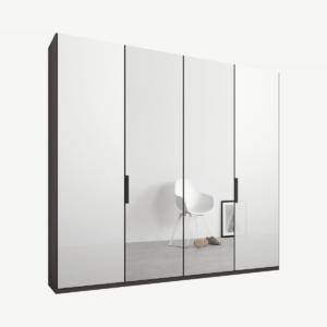 Caren Malix kledingkast met 4 deuren, 200 cm, grafietgrijs frame, wit glas en spiegeldeuren, standaard