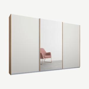 Malix kledingkast met 3 schuifdeuren, 270 cm eiken frame, mat wit en spiegeldeuren, standaard binnenkant