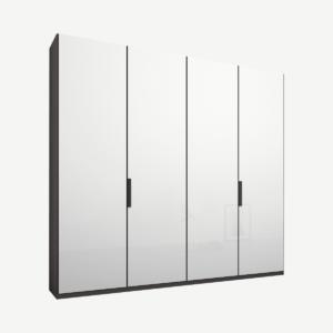 Caren vierdeurs kledingkast met handvatten, 200 cm, grafietgrijs frame, witte glazen deuren, klassiek interieur