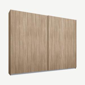 Malix tweedeurs kledingkast met schuifdeuren, 225 cm, eiken frame, eiken deuren, klassiek interieur