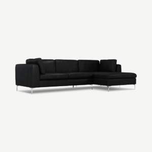 Monterosso Right Hand Facing Chaise End, Denver Black Leather with Chrome leg