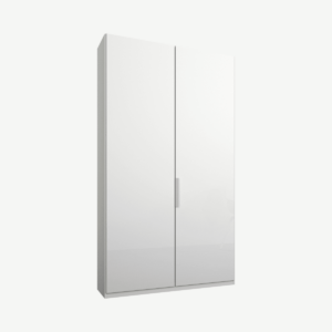 Caren tweedeurs kledingkast met handvatten, 100 cm, wit frame, witte glazen deuren, klassiek interieur