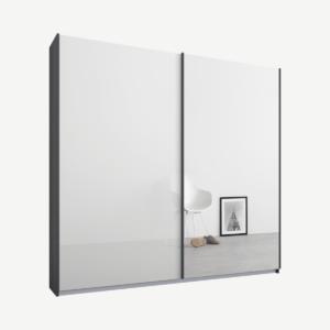 Malix tweedeurs kledingkast met schuifdeuren, 181 cm, grafietgrijs frame, wit glas en spiegeldeuren, standaard interieur