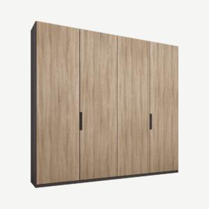 Caren vierdeurs kledingkast met handvatten, 200 cm, grafietgrijs frame, eiken deuren, klassiek interieur