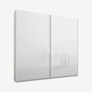Malix tweedeurs kledingkast met schuifdeuren, 181 cm, wit frame, witte glazen deuren, premium interieur