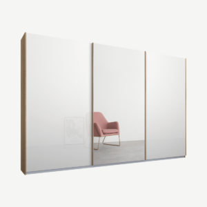 Malix kledingkast met 3 schuifdeuren, 270 cm eiken frame, wit glas en spiegeldeuren, standaard binnenkant