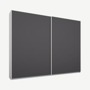 Malix tweedeurs kledingkast met schuifdeuren, 225 cm, wit frame, mat grafietgrijze deuren, klassiek interieur