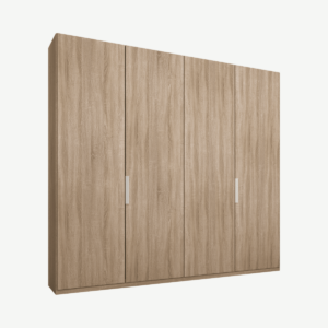 Caren vierdeurs kledingkast met handvatten, 200 cm, eiken frame, eiken deuren, standaard interieur