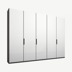 Caren vijfdeurs kledingkast met handvatten, 250 cm, grafietgrijs frame, witte glazen deuren, premium interieur