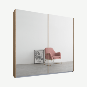 Malix tweedeurs kledingkast met schuifdeuren, 181 cm, eiken frame, spiegeldeuren, standaard interieur