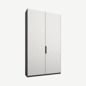 Caren tweedeurs kledingkast met handvatten, 100 cm, grafietgrijs frame, matwitte deuren, klassiek interieur