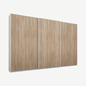 Malix driedeurs kledingkast met schuifdeuren, 270 cm, wit frame, eiken deuren, premium interieur