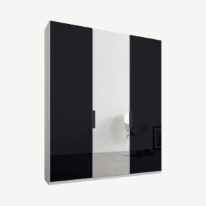 Caren driedeurs kledingkast met handvatten, 150 cm, wit frame, basaltgrijs glas en spiegeldeuren, premium interieur