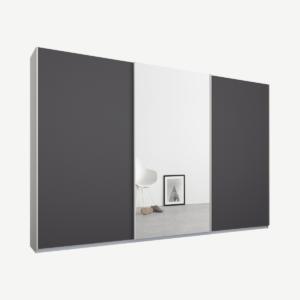 Malix kledingkast met 3 schuifdeuren, 270 cm wit frame, mat grafietgrijs en spiegeldeuren, standaard binnenkant
