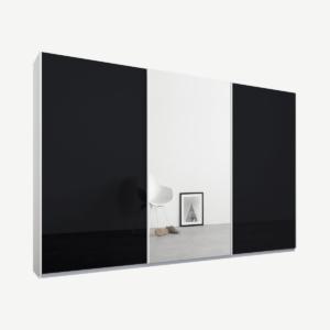 Malix driedeurs kledingkast met schuifdeuren, 270 cm, wit frame, basaltgrijs glas en spiegeldeuren, klassiek interieur