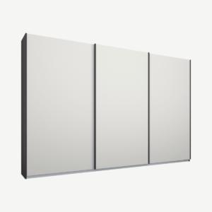 Malix driedeurs kledingkast met schuifdeuren, 270 cm, grafietgrijs frame, matwitte deuren, klassiek interieur