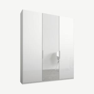 Caren driedeurs kledingkast met handvatten, 150 cm, wit frame, wit glas en spiegeldeuren, premium interieur