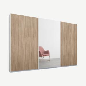 Malix kledingkast met 3 schuifdeuren, 270 cm wit frame, eiken en spiegeldeuren, standaard binnenkant