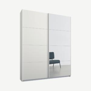 Malix tweedeurs kledingkast met schuifdeuren, 135 cm, wit frame, matwit en spiegeldeuren, premium interieur