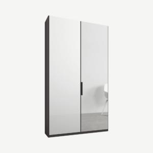 Caren tweedeurs kledingkast met handvatten, 100 cm, grafietgrijs frame, wit glas en spiegeldeuren, klassiek interieur