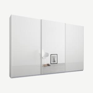 Malix kledingkast met 3 schuifdeuren, 270 cm wit frame, wit glas en spiegeldeuren, standaard binnenkant