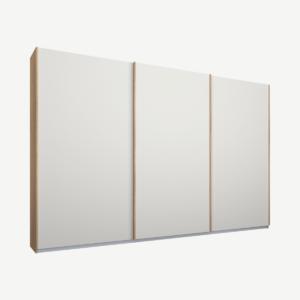 Malix kledingkast met 3 schuifdeuren, 270 cm eiken frame, matte, witte deuren, standaard binnenkant