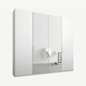 Caren vierdeurs kledingkast met handvatten, 200 cm, wit frame, wit glas en spiegeldeuren, klassiek interieur