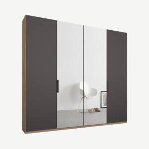 Caren Malix kledingkast met 4 deuren, 200 cm, eiken frame, mat grafietgrijs en spiegeldeuren, standaard