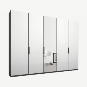 Caren vijfdeurs kledingkast met handvatten, 250 cm, grafietgrijs frame, wit glas en spiegeldeuren, klassiek interieur