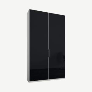 Caren tweedeurs kledingkast met handvatten, 100 cm, wit frame, basaltgrijze glazen deuren, klassiek interieur