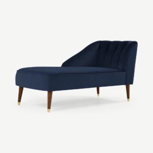 Margot chaise longue met leuning links, koningsblauw fluweel