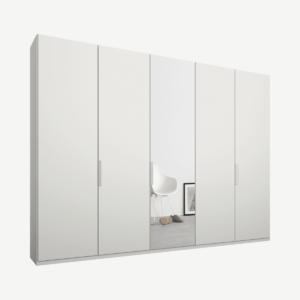 Caren Malix kledingkast met 5 deuren, 250 cm, wit frame, mat wit en spiegeldeuren, standaard