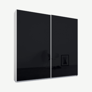 Malix tweedeurs kledingkast met schuifdeuren, 181 cm, wit frame, basaltgrijze glazen deuren, klassiek interieur