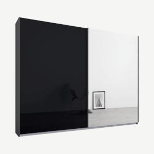 Malix tweedeurs kledingkast met schuifdeuren, 225 cm, grafietgrijs frame, basaltgrijs glas en spiegeldeuren, klassiek interieur