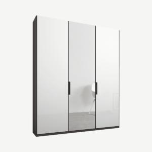 Caren driedeurs kledingkast met handvatten, 150 cm, grafietgrijs frame, wit glas en spiegeldeuren, standaard interieur