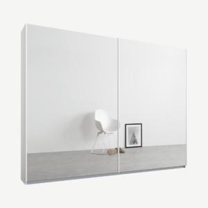 Malix tweedeurs kledingkast met schuifdeuren, 225 cm, wit frame, spiegeldeuren, premium interieur