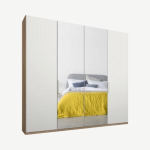 Caren vierdeurs kledingkast met handvatten, 200 cm, eiken frame, matwit en spiegeldeuren, standaard interieur