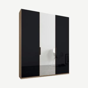 Caren driedeurs kledingkast met handvatten, 150 cm, eiken frame, basaltgrijs glas en spiegeldeuren, premium interieur
