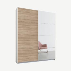 Malix tweedeurs kledingkast met schuifdeuren, 135 cm, wit frame, eiken en spiegeldeuren, standaard interieur