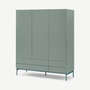 Donica kledingkast, driedeurs betonblauw