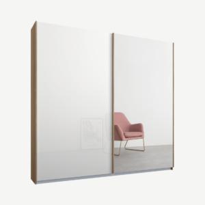 Malix tweedeurs kledingkast met schuifdeuren, 181 cm, eiken frame, wit glas en spiegeldeuren, premium interieur