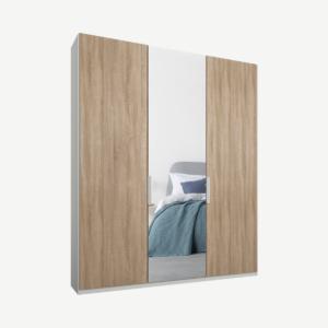 Caren driedeurs kledingkast met handvatten, 150 cm, wit frame, eiken en spiegeldeuren, premium interieur