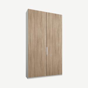 Caren tweedeurs kledingkast met handvatten, 100 cm, wit frame, eiken deuren, klassiek interieur