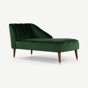 Margot chaise longue met leuning rechts, bosgroen fluweel