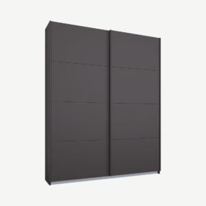 Malix tweedeurs kledingkast met schuifdeuren, 135 cm, grafietgrijs frame, mat grafietgrijze deuren, standaard interieur
