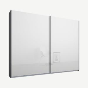 Malix tweedeurs kledingkast met schuifdeuren, 225 cm, grafietgrijs frame, witte glazen deuren, premium interieur