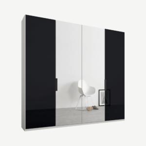 Caren vierdeurs kledingkast met handvatten, 200 cm, wit frame, basaltgrijs glas en spiegeldeuren, premium interieur