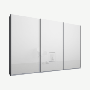 Malix driedeurs kledingkast met schuifdeuren, 270 cm, grafietgrijs frame, witte glazen deuren, klassiek interieur
