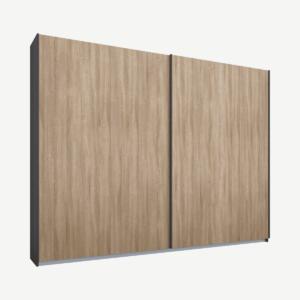 Malix kledingkast met 2 schuifdeuren, 225 cm, grafietgrijs frame, eiken deuren, standaard binnenkant