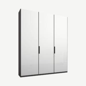 Caren driedeurs kledingkast met handvatten, 150 cm, grafietgrijs frame, witte glazen deuren, premium interieur